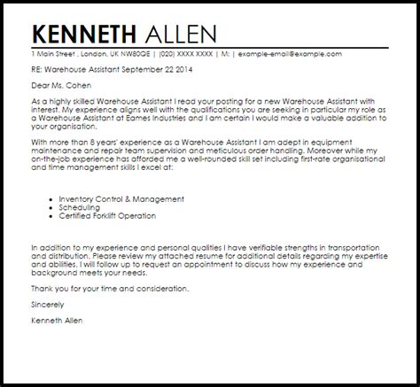 warehouse assistant cover letter sample cover letter templates examples
