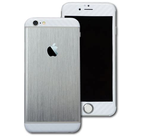 silver iphone 6 iphone 6 brushed silver with white carbon skin wrap