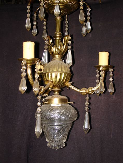 3 arms small bronze prism chandelier for