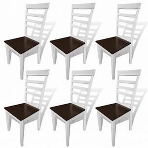 Weiße Esszimmerstühle : 6 stk braun wei e esszimmerst hle aus massivholz g nstig ~ Pilothousefishingboats.com Haus und Dekorationen