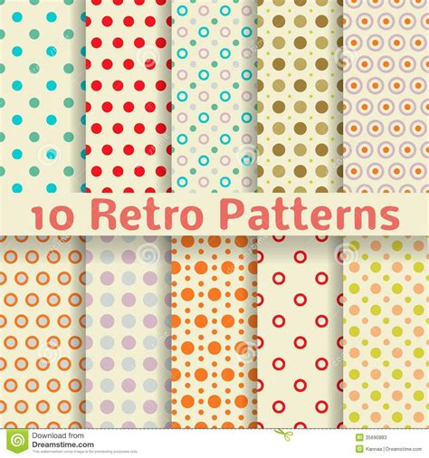 Retro Dot Vector Seamless Patterns (tiling). Stock Vector ...