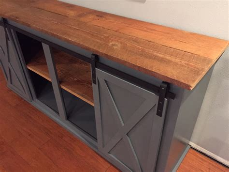 ana white sliding door buffet  real barnwood diy