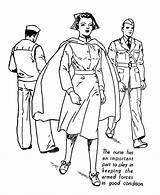Coloring Nurse Armed Forces Labor Colouring Sheets Military Navy Printable Nurses Sheet Nursing Adult Army War Holiday Veterans Adults Popular sketch template