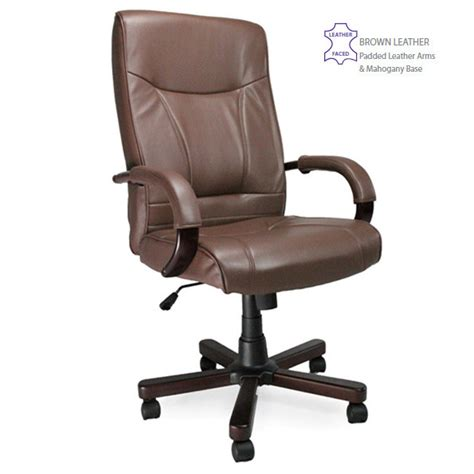 high back brown leather faced executive office arm chair