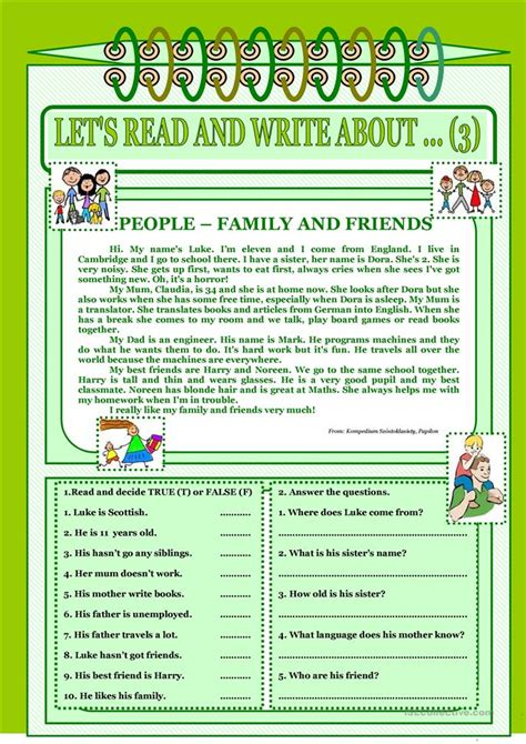 lets read  write   family  friends
