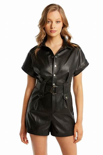 Playsuit Belted Pu Bardot Playsuits Jumpsuits Clothing