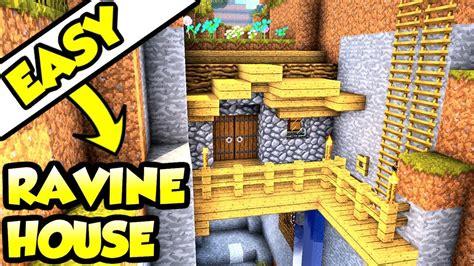 minecraft ravine survival house tutorial   build survival base youtube