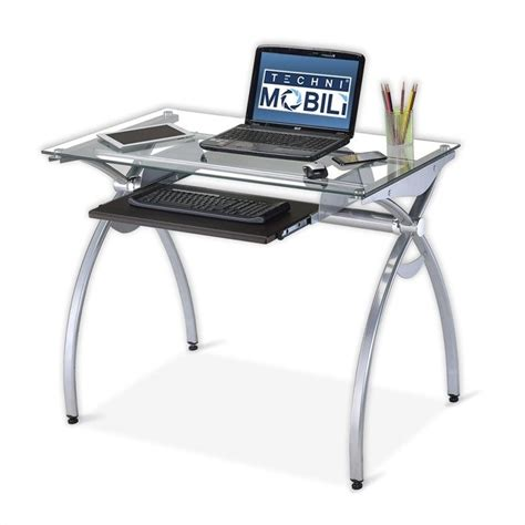 Techni Mobili Glass And Metal Computer Desk by Techni Mobili Alterna Gls Top Metal Computer Desk