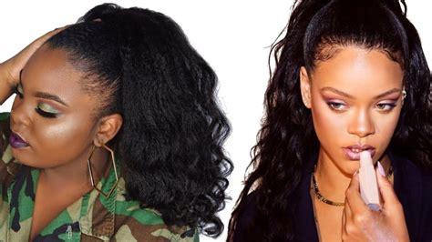 rihanna inspired wavy high ponytail  short  natural