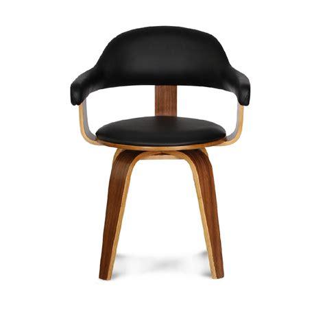 Chaise Design Similicuir Noire Et Bois Massif Walnut