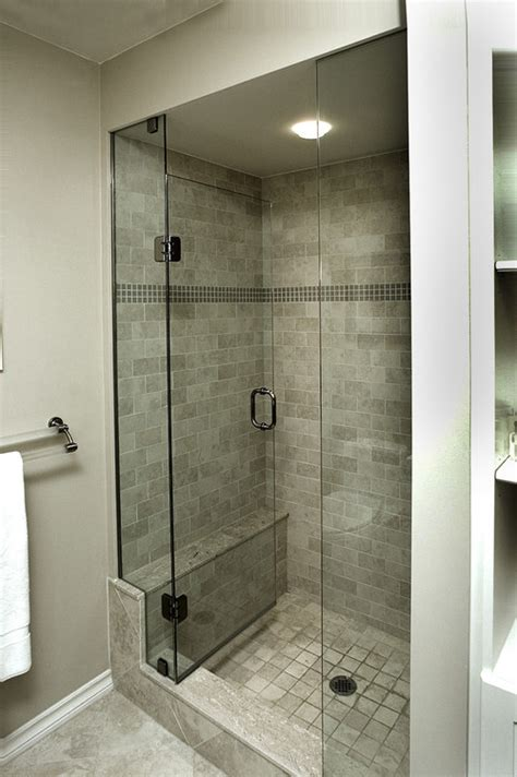 open glass shower does the glass door on stall shower open in and not pull out have a small bathroom and a open
