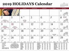 Editable Printable Jewish Holiday Calendar 2019 Template