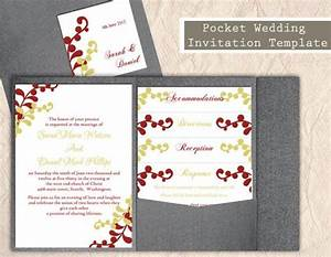 pocket wedding invitation template set diy instant With 4 in 1 wedding invitations