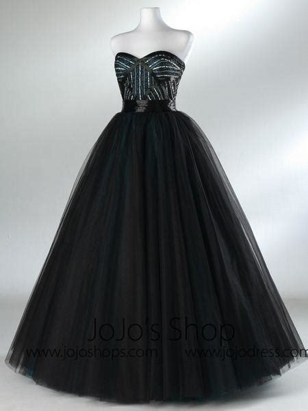 black strapless tulle formal prom ball gown dress hba
