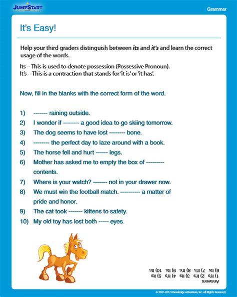 easy view  grammar worksheet   grade