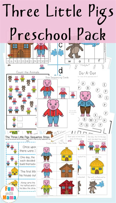 the three little pigs preschool activities three pigs printable pack with 753
