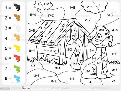 Numbers Addition Subtraction Paint Illustration Activity Vector