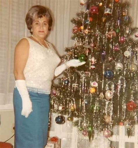mid century women enjoying real christmas trees flashbak