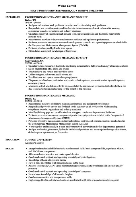 Maintenance Mechanic Resume by Production Maintenance Mechanic Resume Sles Velvet