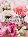 Happy Birthday Beautiful Lady Flowers - Romantic words