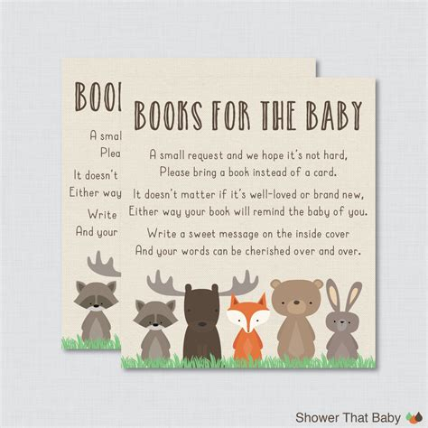 Baby Shower Book Poem - woodland baby shower bring a book instead of a card invitation