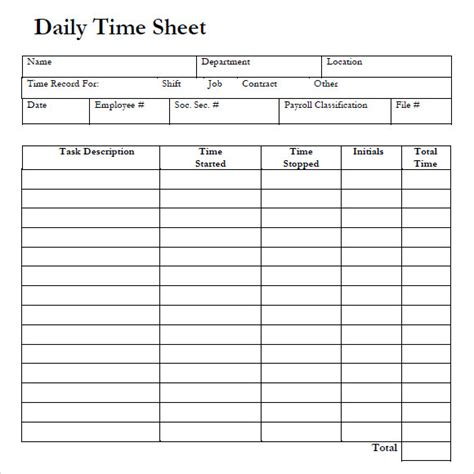 free 10 sle daily timesheet templates in google docs