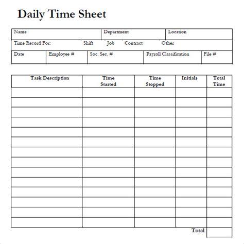 sample daily timesheet templates sample templates