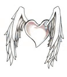Cool Heart Drawings with Wings