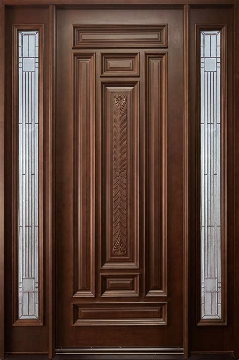 front door custom single with 2 sidelites solid wood