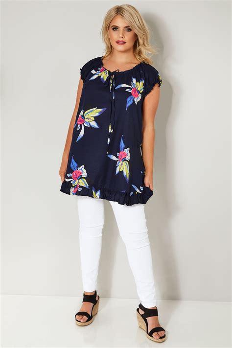 Top Noir Et Floral Style Gypsy, Taille 44 à 64