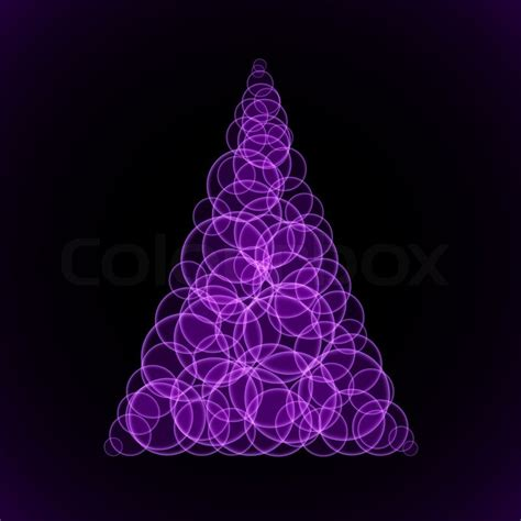 abstraction purple christmas tree on black background