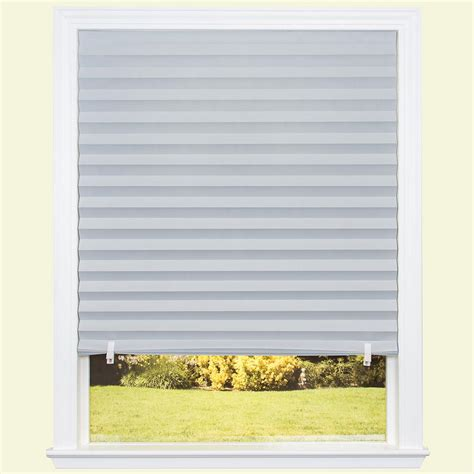 window blinds home depot redi shade gray paper room darkening pleated shade 36 in