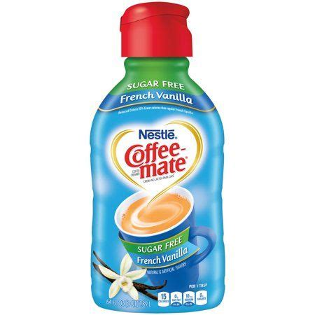 Order this sugar free version hoping to make it a little easier for people to make a better coffee decision. Coffee-Mate Sugar Free French Vanilla Liquid Coffee Creamer 64 fl. oz. Bottle | Dairy free ...