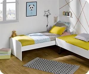 Pack lit enfant gigogne sleep39in blanc 90x190 cm avec matelas for Deco chambre enfant avec achat matelas latex 90x190