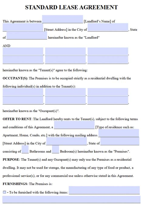 standard  year lease agreement template   word