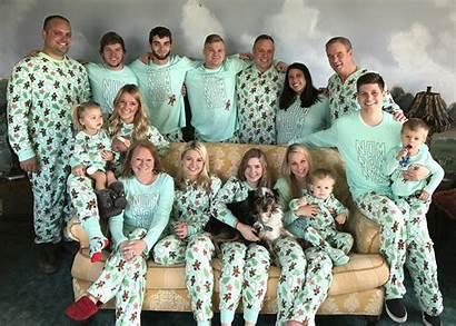 Pajamas Matching Wearing Families Holidays During Dispatch