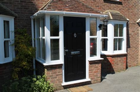 Front Door Porch by Porch Uk Black Door White Windows Patio Furniture