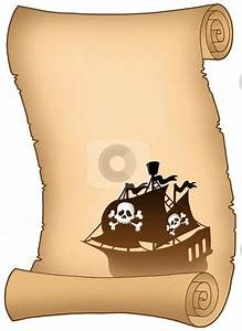 pirate scroll template - scroll with pirate ship silhouette stock photo