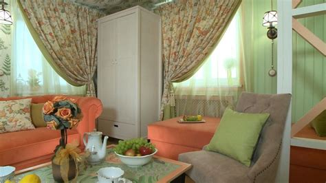 cozy provence style living space in mint and coral decor