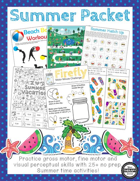 Summer Sensory Motor Packet  Your Therapy Source