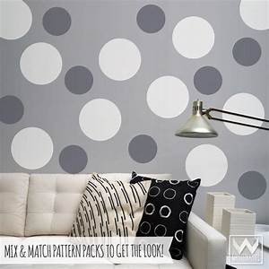 Polka circles wall decor : Large dots vinyl wall decals shapes and stickers for