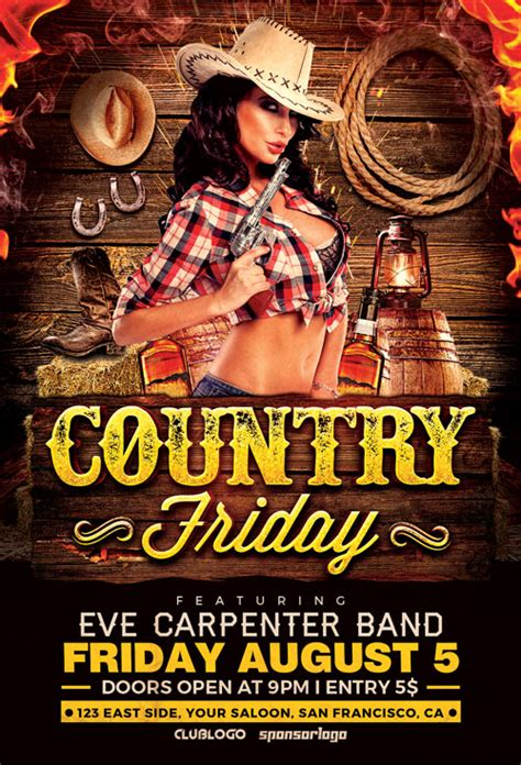 country poster template country night 1 flyer template download country flyer