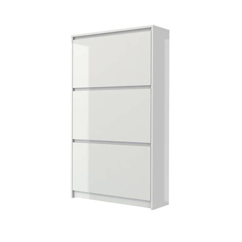 Petit Meuble A Chaussure Blanc Laqué by Bright 3 Drawer Shoe Cabinet White High Gloss