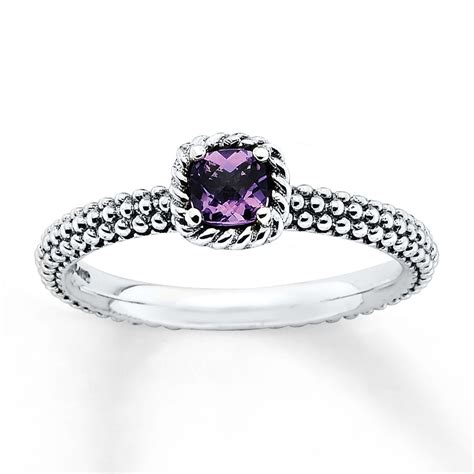 Stackable Amethyst Ring Sterling Silver  Kay