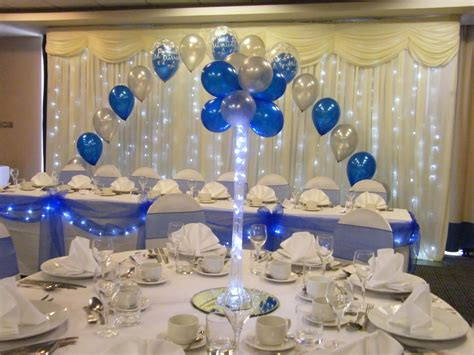 royal blue table decorations vase balloon tree in royal blue and silver with table