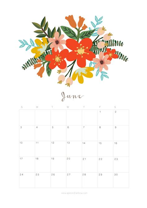 printable june  calendar monthly planner flower