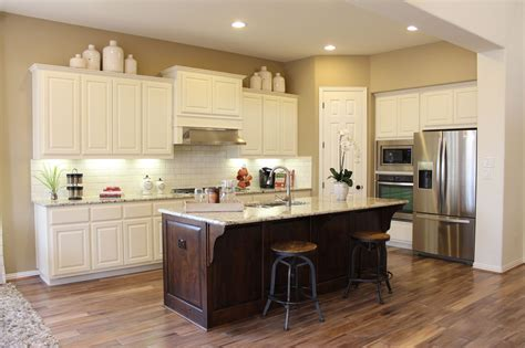 oak kitchen island with granite top choose flooring that complements cabinet color burrows