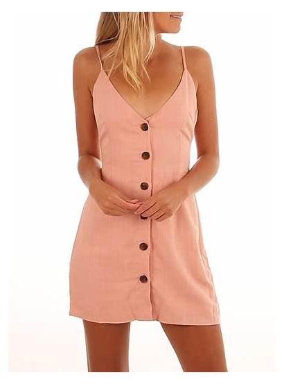 Spaghetti Strap Button Tank Dresses Contrasting