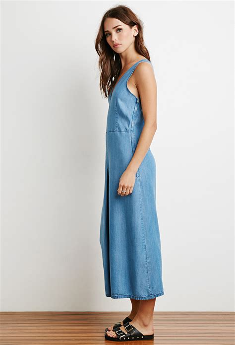 forever 21 denim jumpsuit forever 21 denim culotte jumpsuit in blue lyst