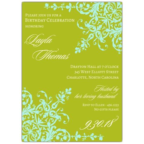 personalized anniversary plates corners turquoise birthday invitations